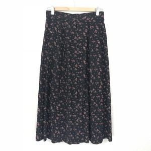 Vintage Express Floral Button Down Long Skirt Sz S